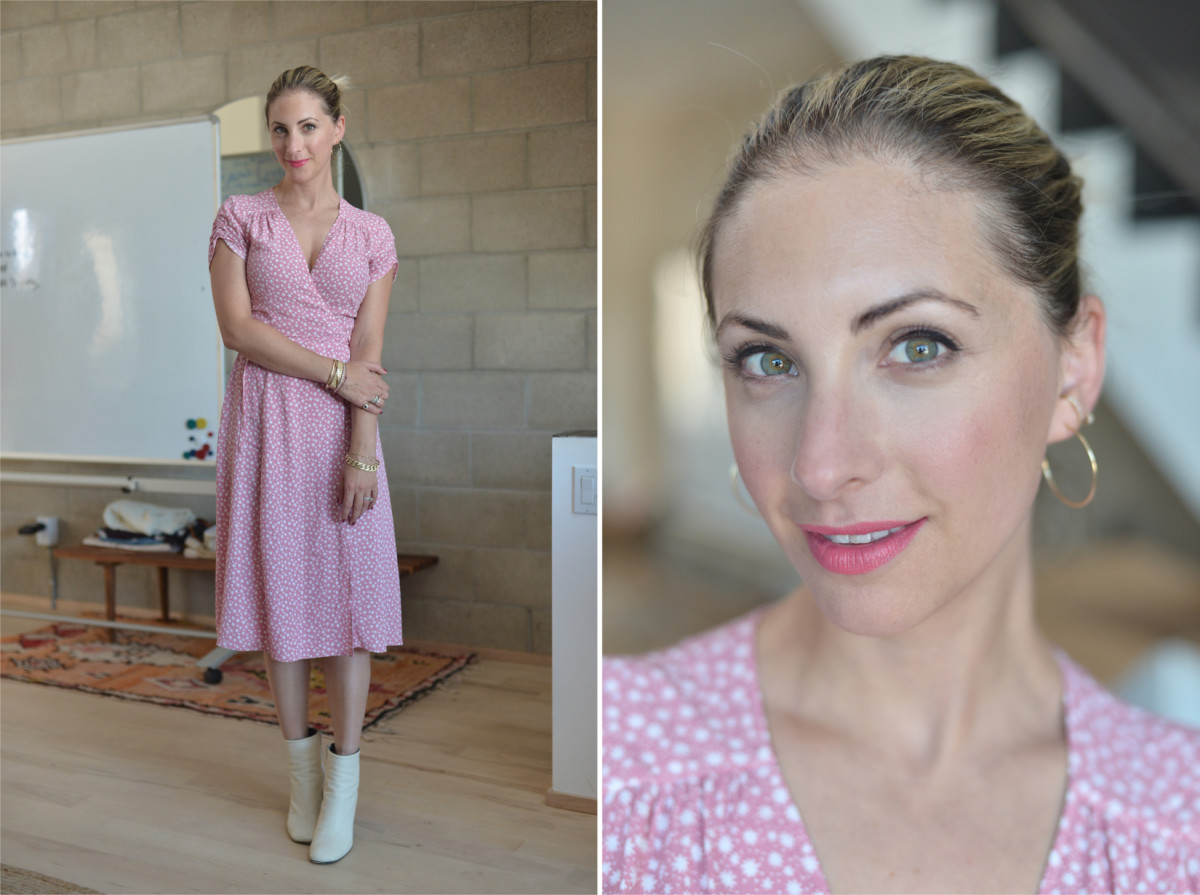 Tuesday: & Other Stories Dress, Rag and Bone Booties, Estee Lauder 'Wild Poppy' Lipstick