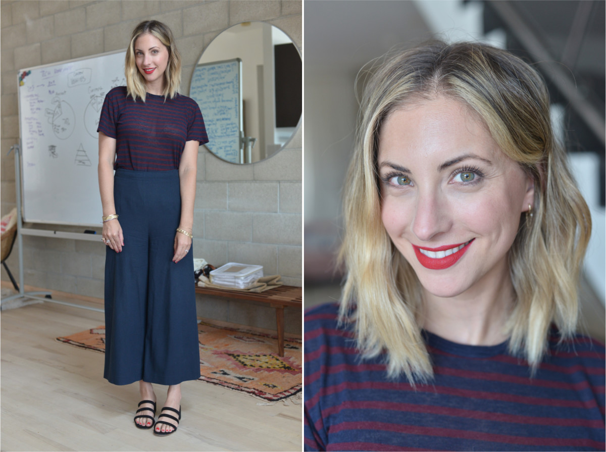 Monday: T by Alexander Wang Shirt (similar version here), Steven Alan Pants (similar version here), Charlotte Stone Sandals, Laura Mercier 'Dominate' Lipstick