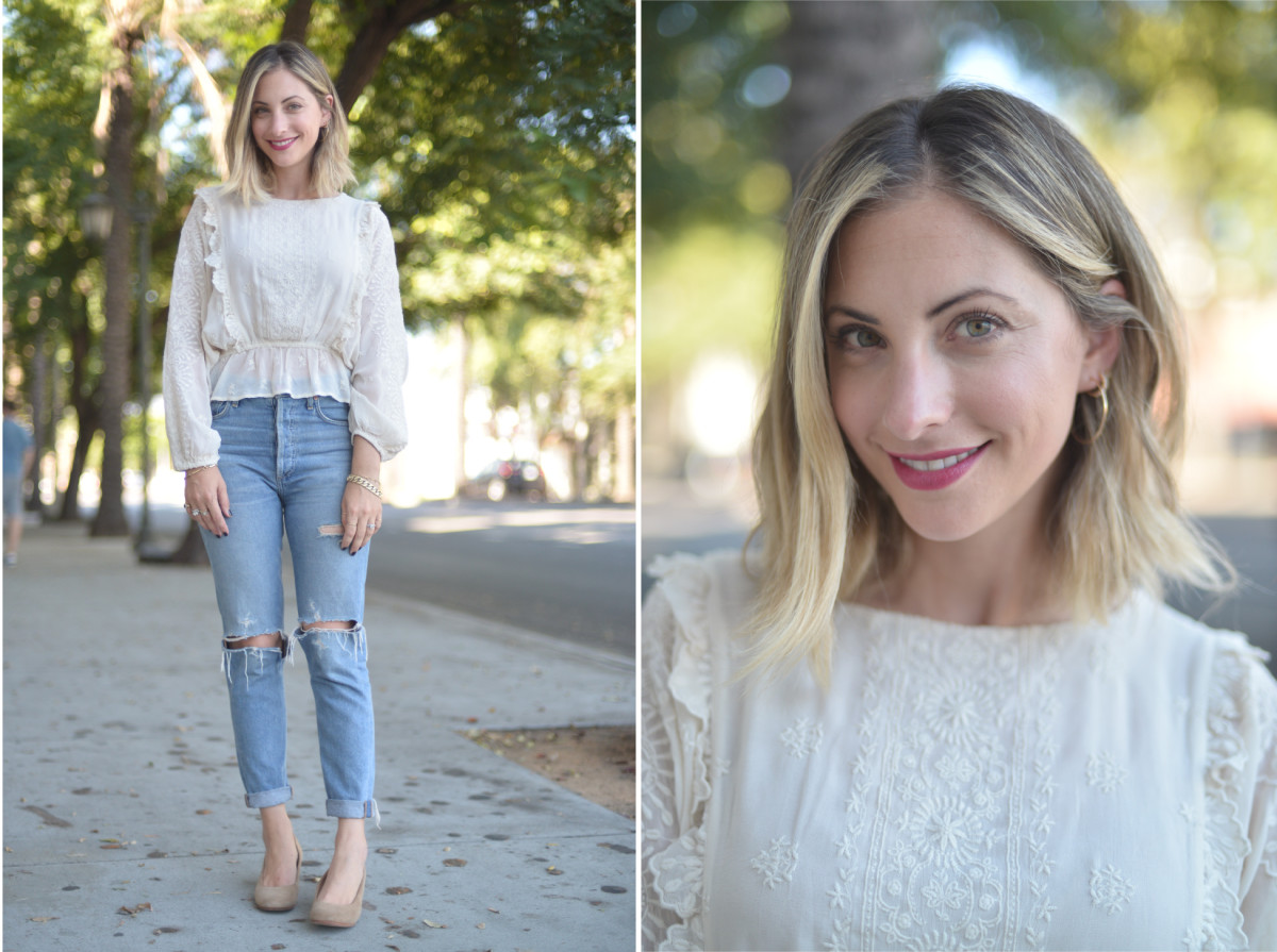 Wednesday: LoveShackFancy Blouse (similar here), Agolde Jeans (on sale), A Detacher Shoes (similar here)