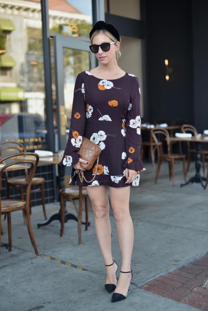 Jennifer Behr hair band (affordable option here), Celine sunglasses, cupcake and cashmere dress, Zara Heels (similar high-end version here, version available here), Vintage Chanel Bag