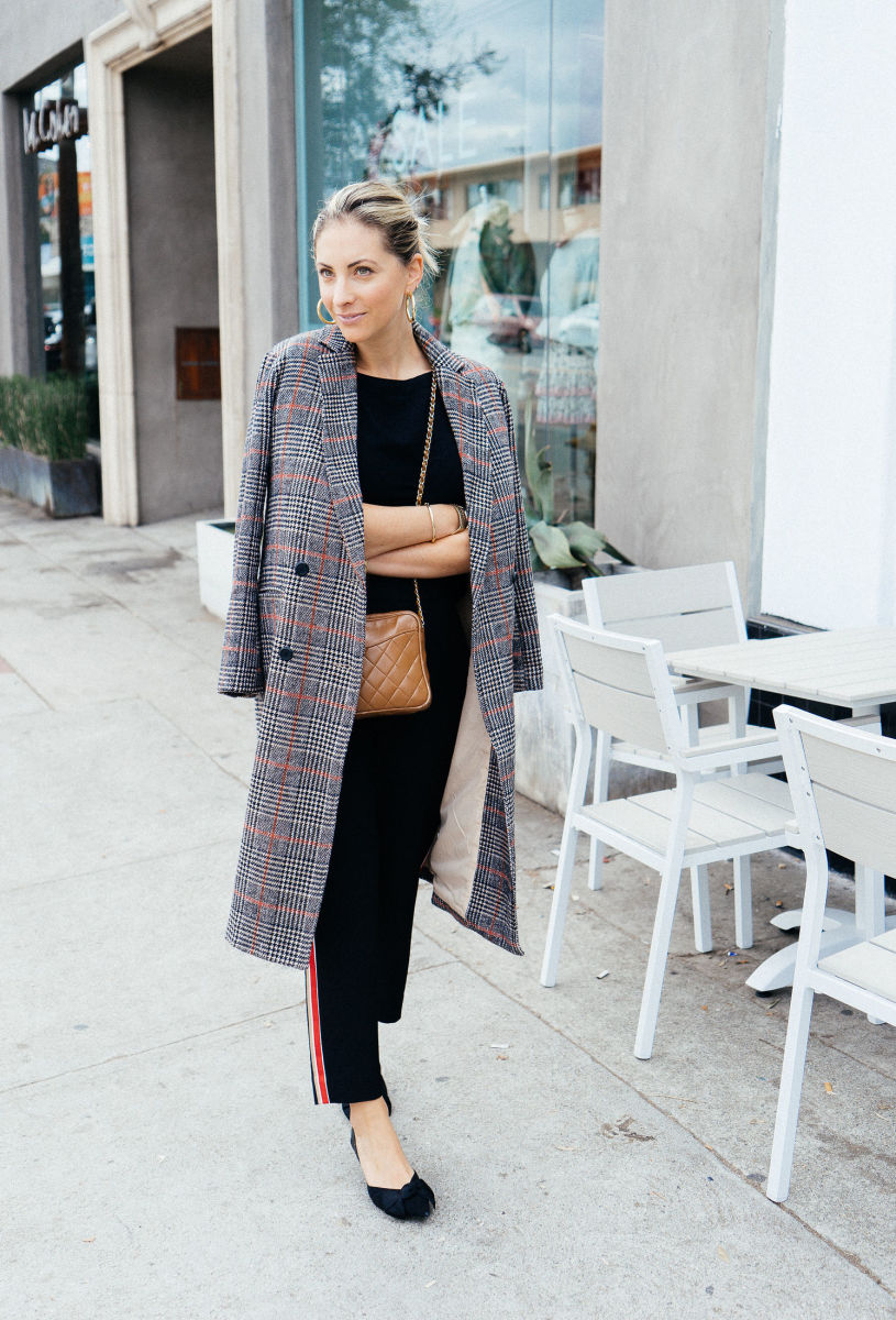 Luv Aj Hoops, Cupcakes and Cashmere Plaid Duster, Cupcakes and Cashmere Top (similar here), & Other Stories Pants, Zara Heels