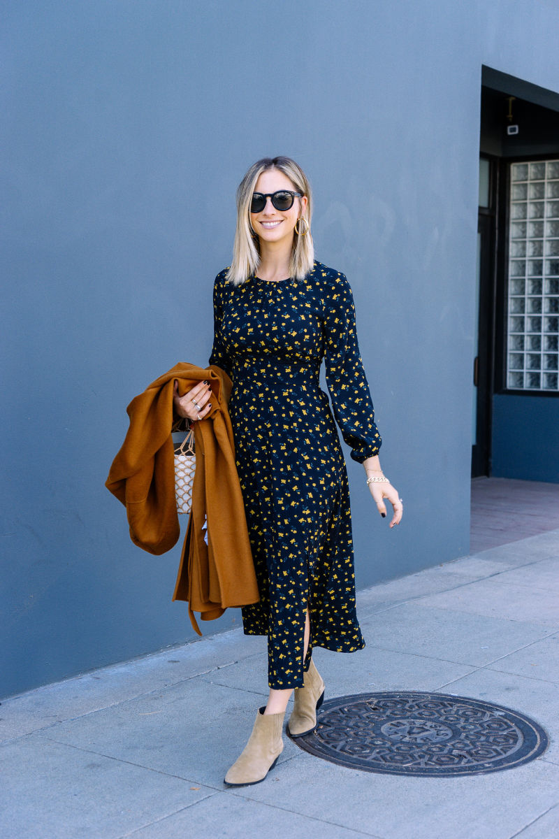 Celine Sunglasses (similar, affordable version here), Luv AJ Hoops,undefined& Other Stories Dress and Coat,undefinedIsabel Marant Booties, Staud Bag