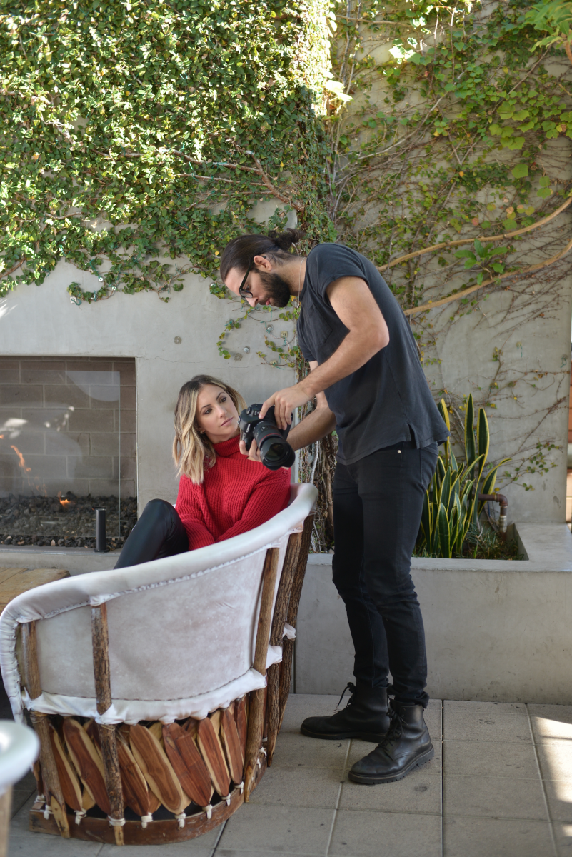 Making sure we got the shot inthe Sepulveda Sweater and Cedric Pant