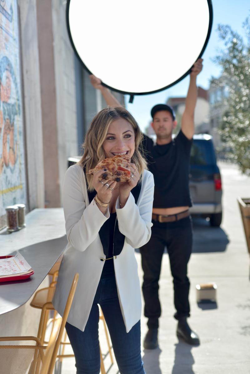 There are benefits that come with using food as props ;) (Wearing the Barrington Blazer and AGOLDE denim)