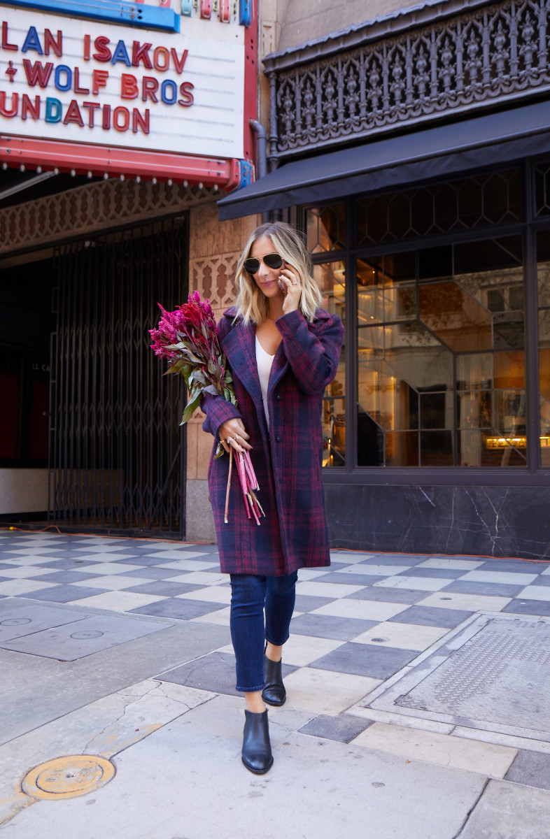 Tuesday: Cupcakes and Cashmere Coat, Line & Dot Tank (similar version here), Agolde Jeans, Alexander Wang Booties