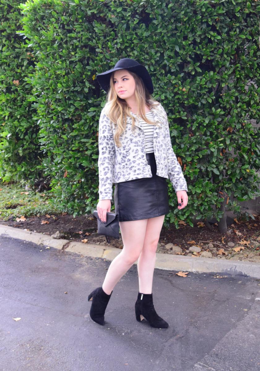 Marrie A-Line skirt,Kacela Ruffle Sleeve Top,Bracken Leopard Moto Jacket