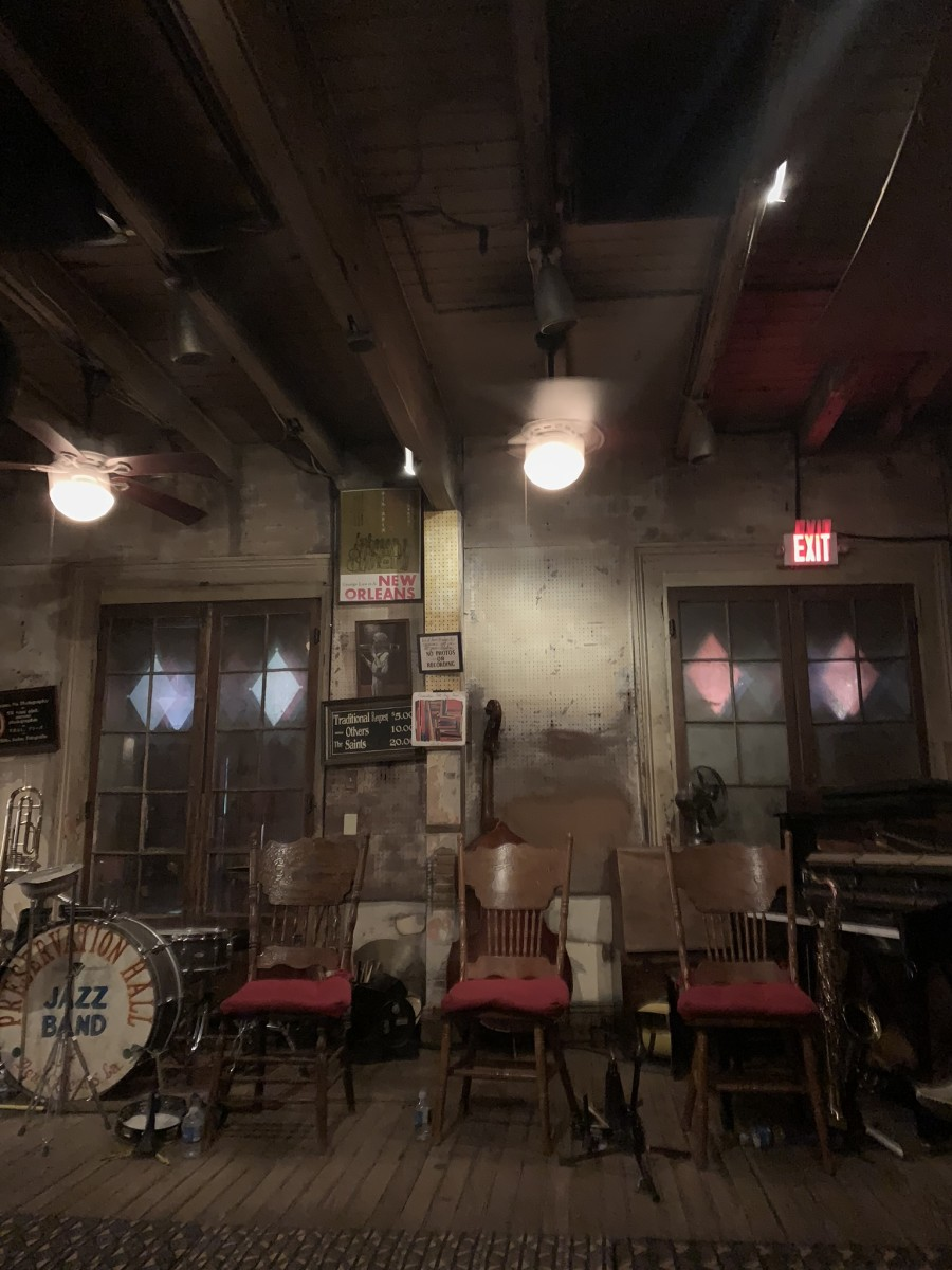 {Before the music at Preservation Hall - loved that phones are not permitted during the show}