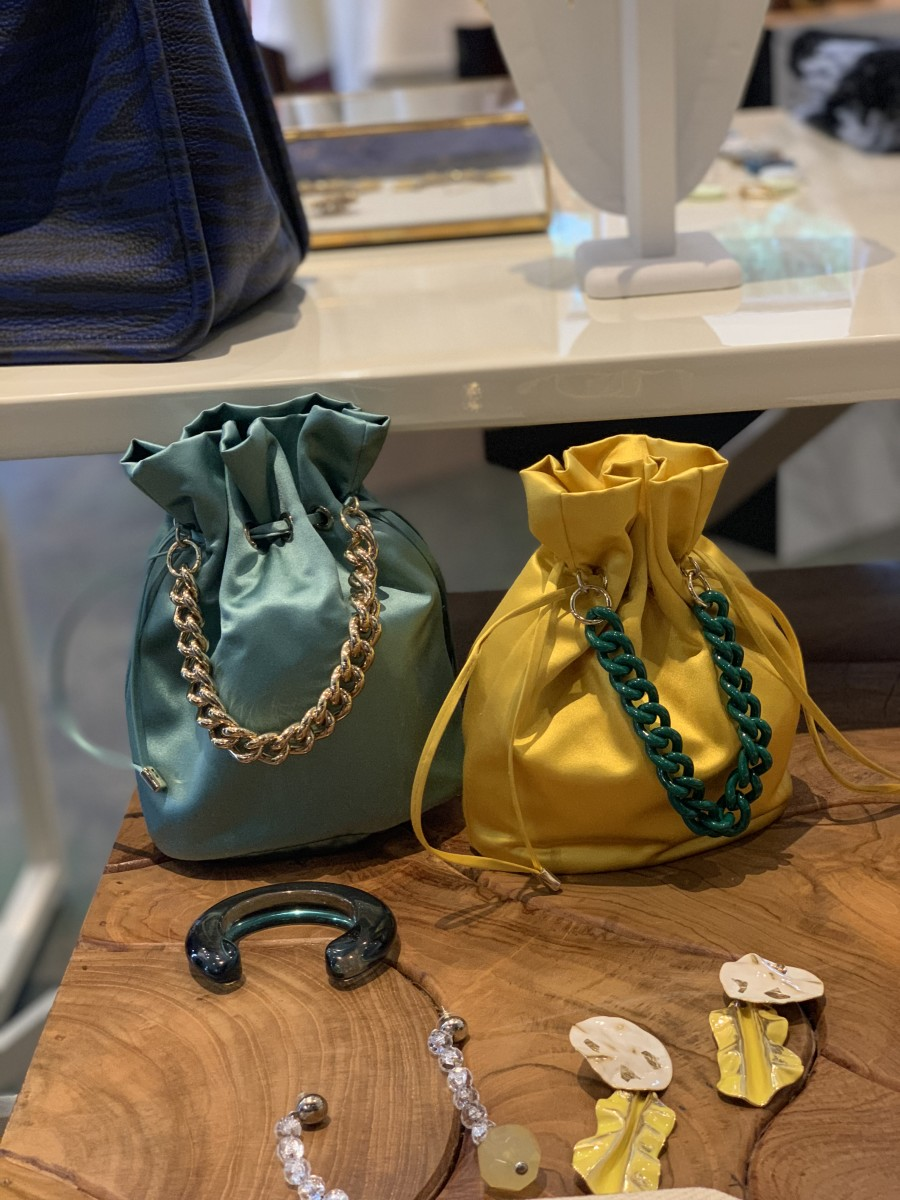 {Deciding between two beautiful satin bags at Pilot and Powell}