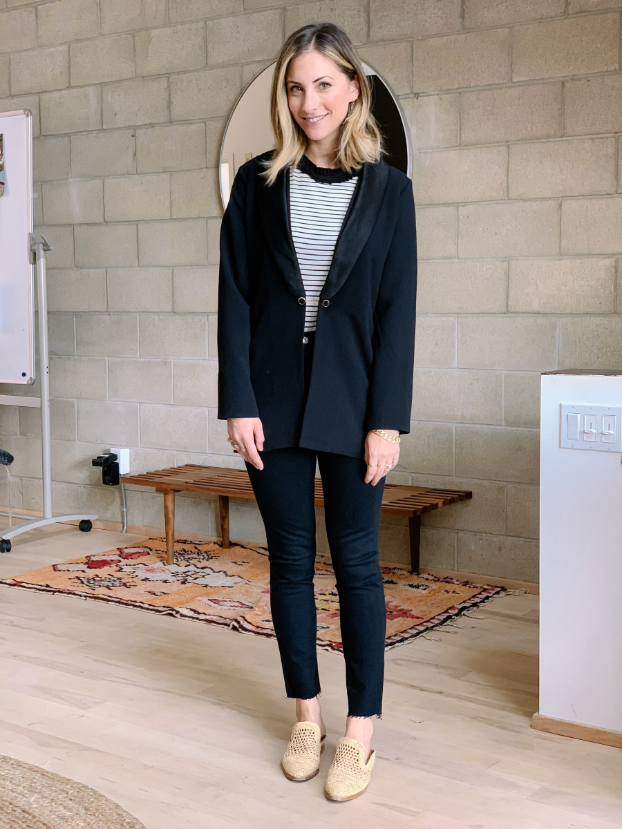 Monday: Cupcakes and Cashmere Blazer, English Factory Top (coming soon!), Agolde Jeans, Clergerie Slides (similar version here)