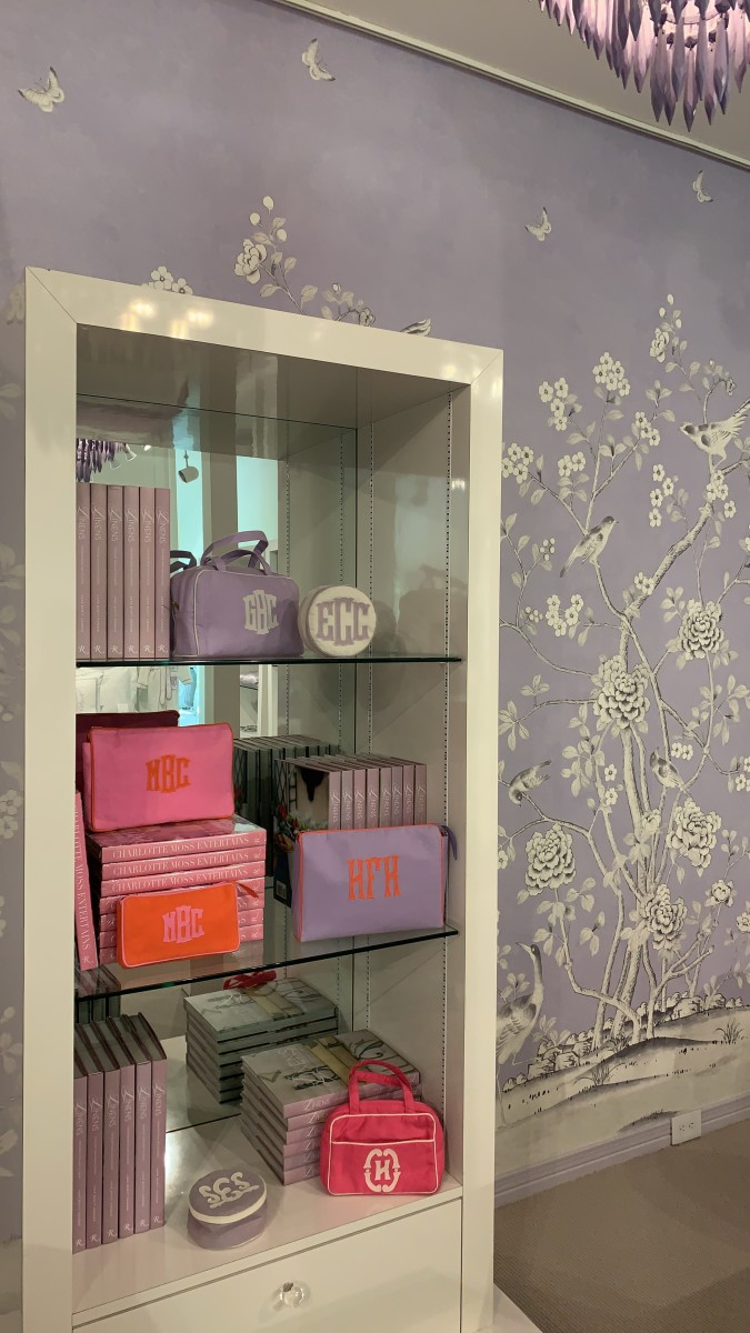 {Picking out monogrammed bags at Leontine Linens}