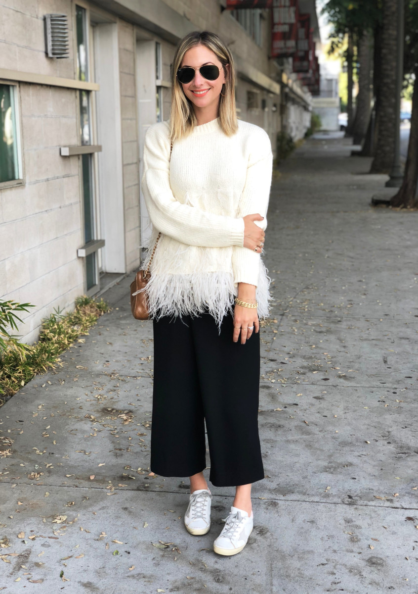 Monday: Elizabeth and James Sweater (similar version here), Club Monaco Pants (similar version here), Golden Goose Sneakers, Laura Mercier 'Cool' Lipstick