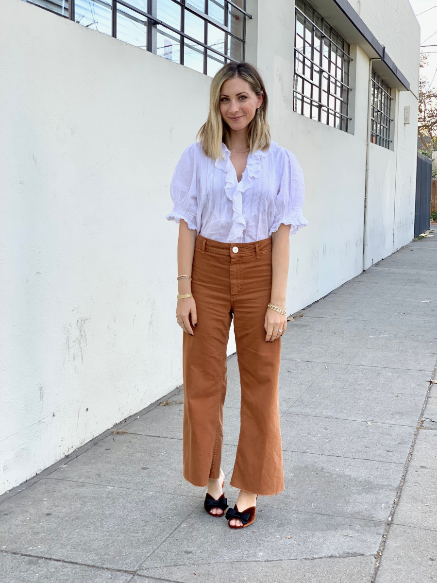 Tuesday: Doen Blouse, Zara Pants (similar version here), Prada Mules (similar version here)
