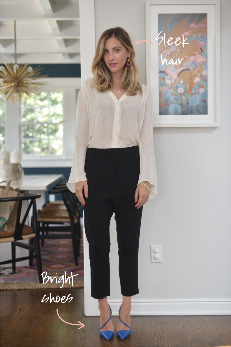 Elizabeth and James Blouse, Nili Lotan Pants, Lizzie Fortunado Earrings (similar here), Christian Louboutin Heels (similar here and here), Kevyn Aucoin 'Marzie' Lipstick