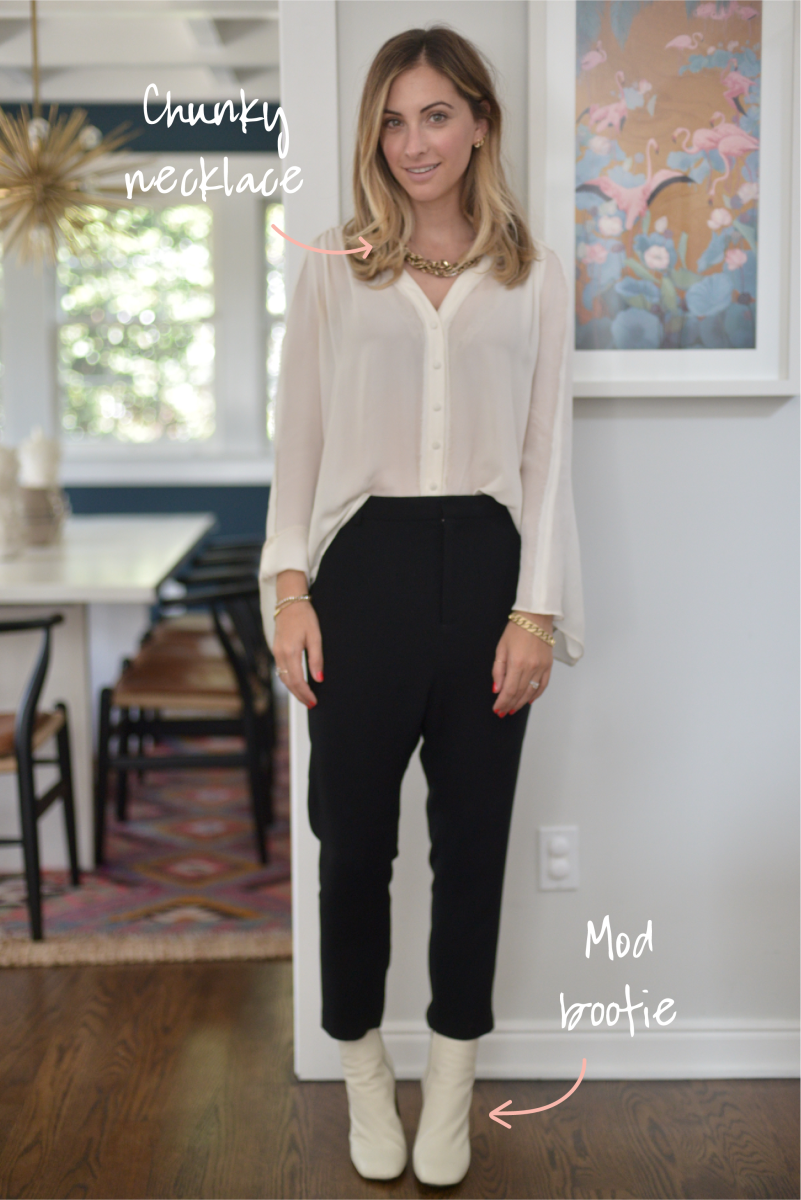 Elizabeth and James Blouse, Nili Lotan Pants, J.Crew Necklace (similar here), Rag + Bone Booties (affordable option here)