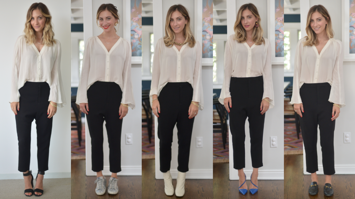 Elizabeth and James Blouse (similar here, here, here), Nili Lotan Pants (similar here, here, here)