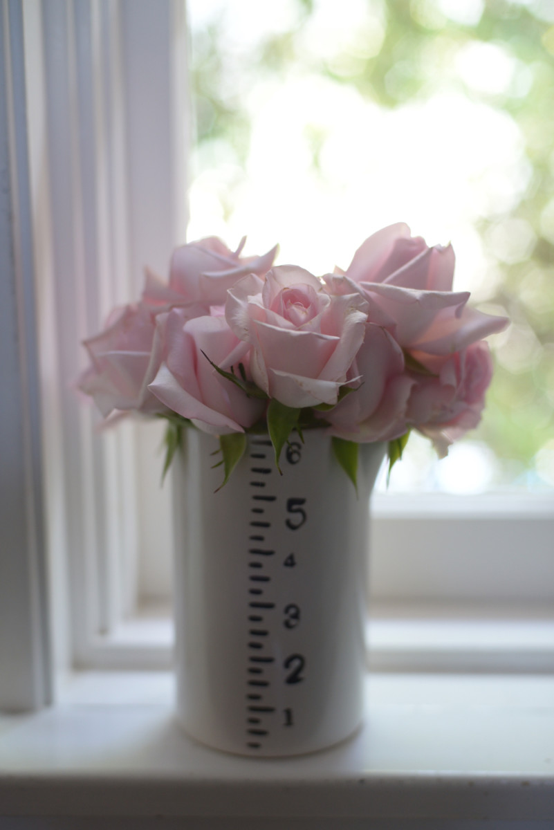 {The palest pink roses to brighten up the kitchen}