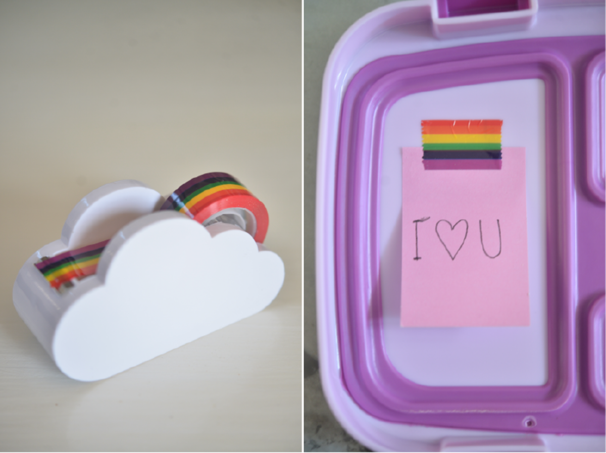 {The sweetest rainbow tape (similar version here) gift from a friend that I use to post notes in Sloan's lunch.}