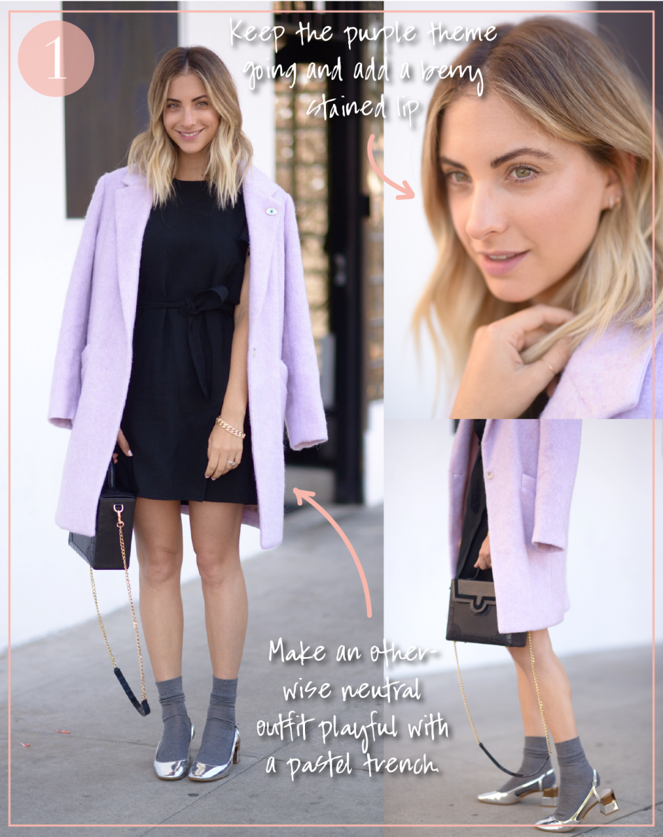 Elizabeth and James Coat (similar here), ban.do Pin (similar here), Maje Dress (similar here), Falke Socks, Zara Shoes (similar here), Kalamarie Bag c/o. Full outfit here.