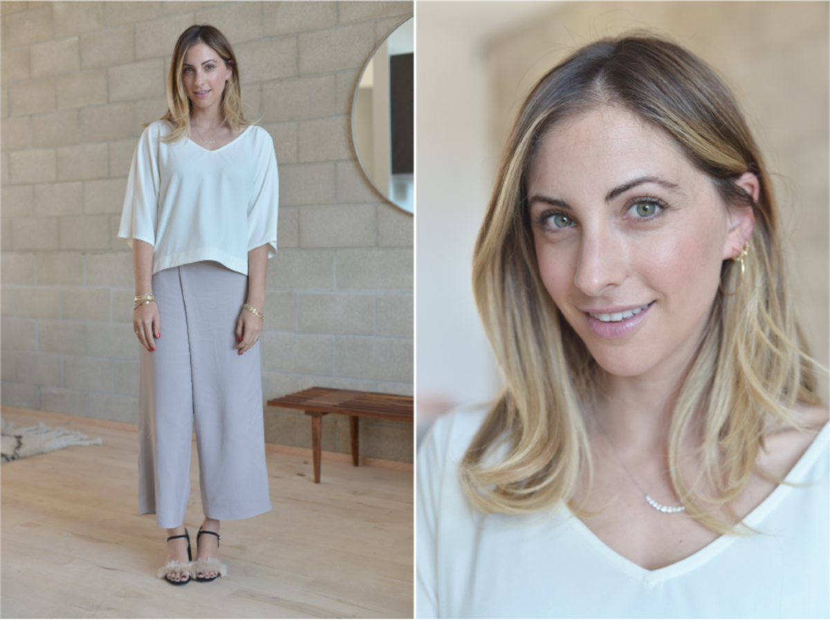 Wednesday: Club Monaco Top (similar here) and Pants (similar in white here), Zara Sandals (similar in black here)