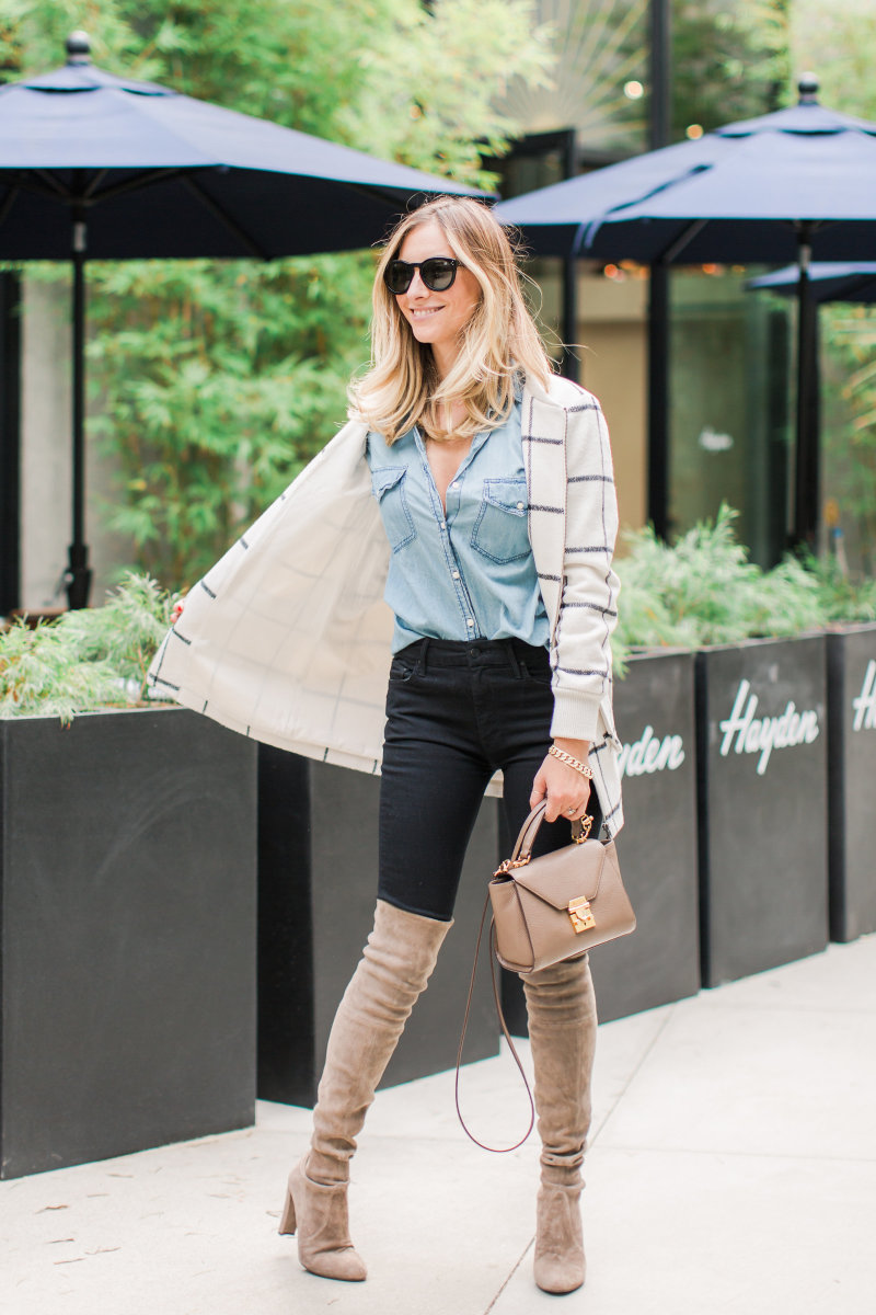 Celine Sunglasses (similar here), Cupcakes and Cashmere Coat and Chambray, Mother Denim, Stuart Weitzman Boots, Mark Cross Bag (similar here)