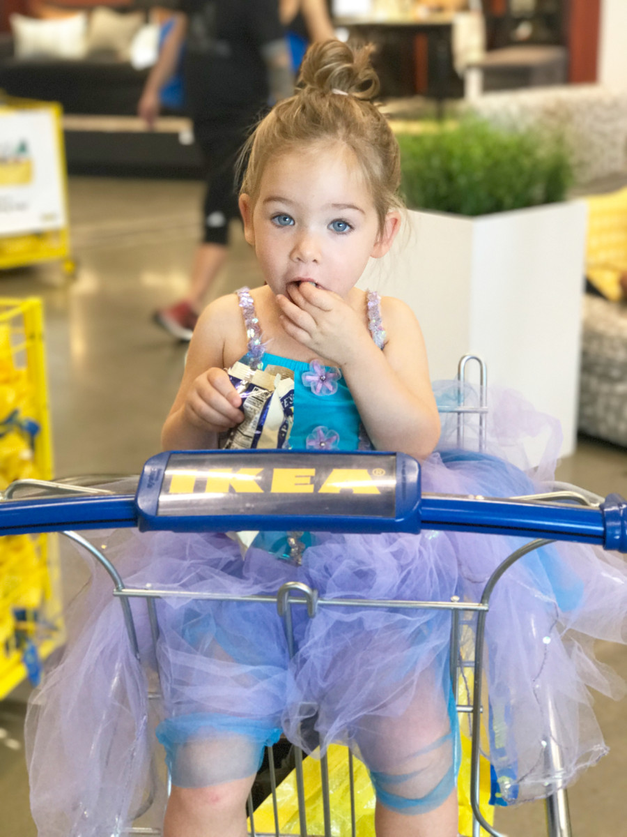 {Gussied up for her first trip to IKEA}