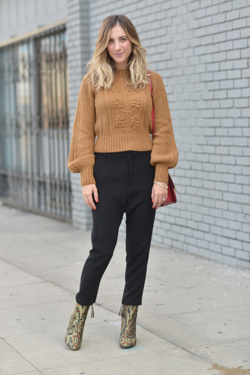 Doen Sweater c/o, Nili Lotan Trousers (similar here), Topshop Boots (sold out, similar here), Celine Purse (similar here), Vintage and Shashi Hoops