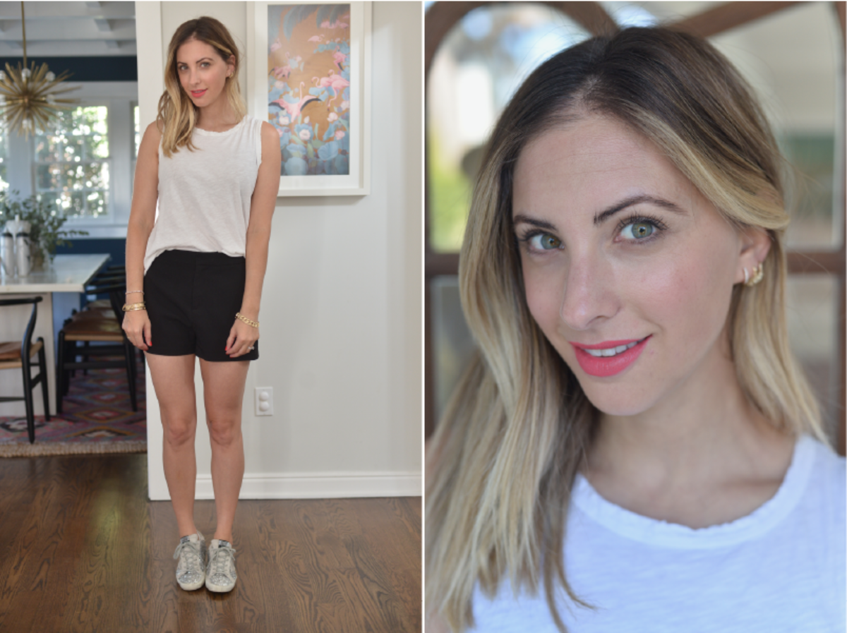 Monday: Current/Elliott Tank, Cupcakes and Cashmere Shorts (no longer available, similar here) Golden Goose Sneakers (similar here), Bobbi Brown 'Pink Guava' Lipstick