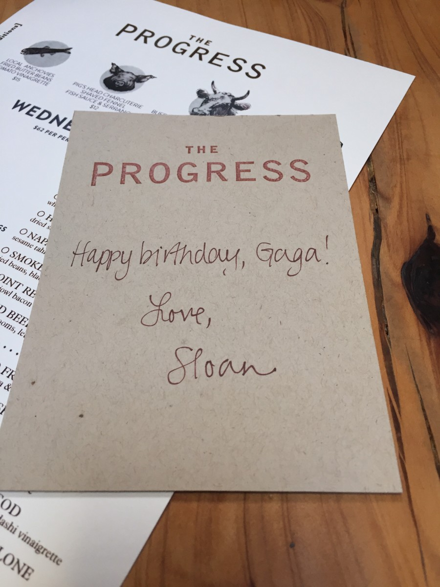 {Sloan picking up the tab at my dad's birthday dinner}