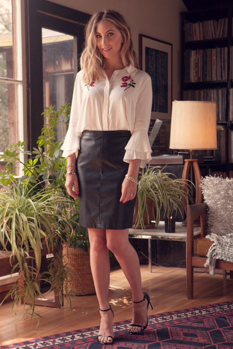Cupcakes and Cashmere Rose Blouse and Skirt, Stuart Weitzman Heels (similar here)