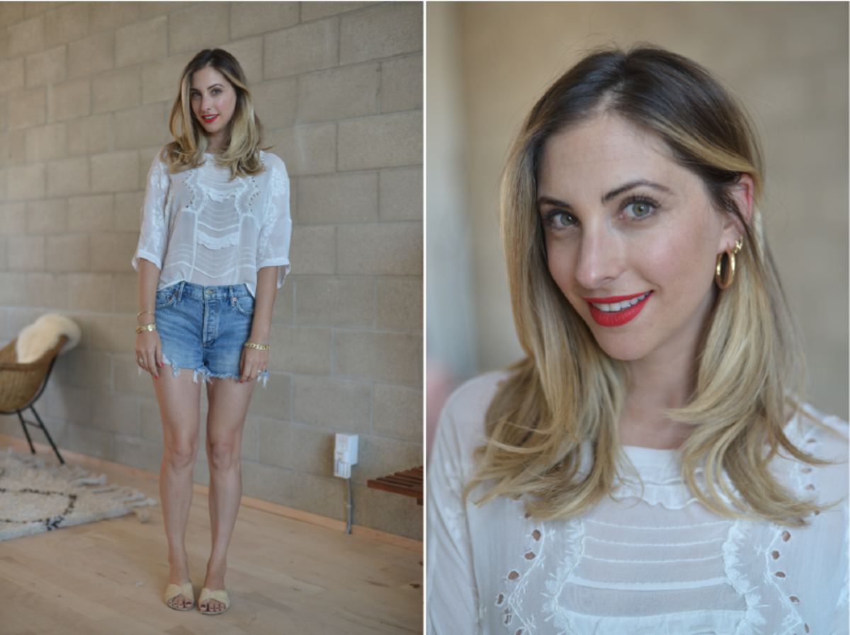 Tuesday: Topshop Blouse (similar here), Agolde Cut-offs, Carrie Forbes Sandals, NARS 'Light My Fire' Lip Stain