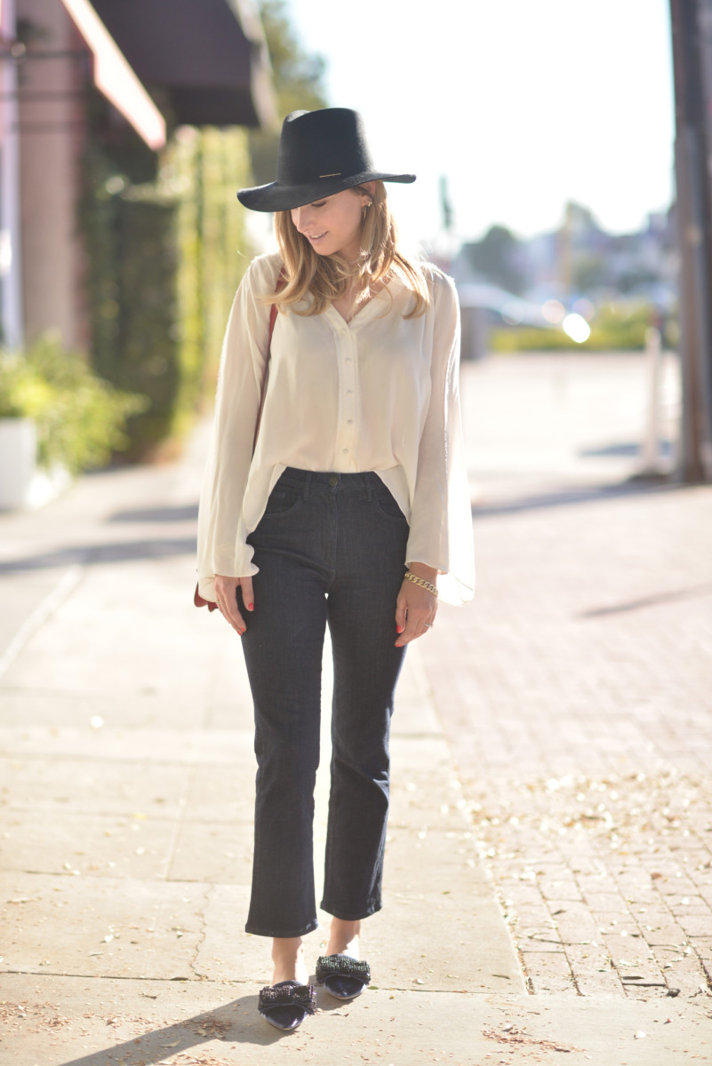 Janessa Leone Hat c/o, Elizabeth and James Blouse (similar here), Ariel Gordon Hoops and Necklace, Shashi Hoops, 3x1 Jeans, Alberta Ferretti Flats (similar here and here)