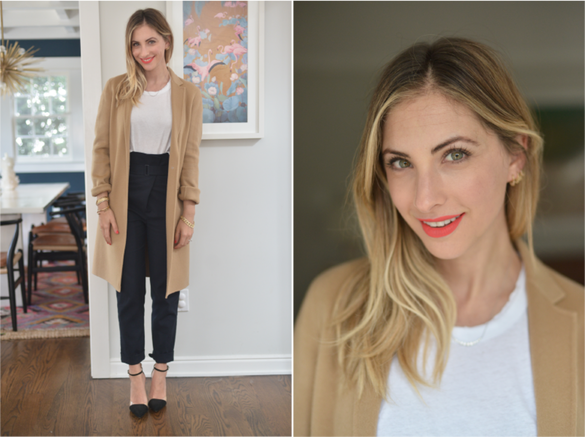 Friday: Theory Coat(similar here), James Perse Shirt (similar here), Tibi Pants (similar here), Zara Shoes (similar here), Lime Crime 'Suede-Berry'