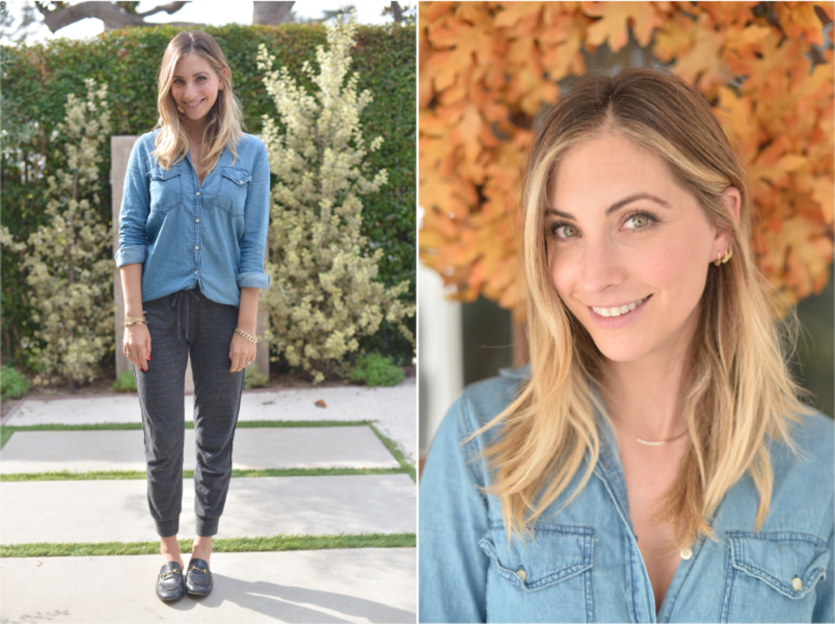 Wednesday: Cupcakes and Cashmere Chambray (similar here), Alternative Apparel Pants, Gucci Loafers (similar here)