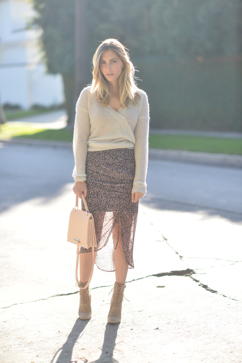 Cupcakes and Cashmere Sweater (similar here), Rebecca Minkoff Skirt, Gianvito Rossi Booties (similar here), Zara Bag (similar here and here)