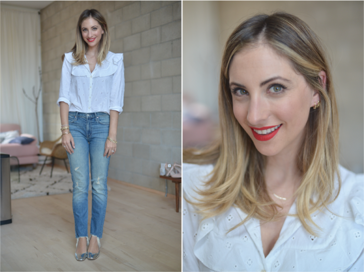 Tuesday: Doen Blouse (similar here), Mother Jeans, Zara Shoes (similar here), Nars 'Light My Fire' Lip Stain