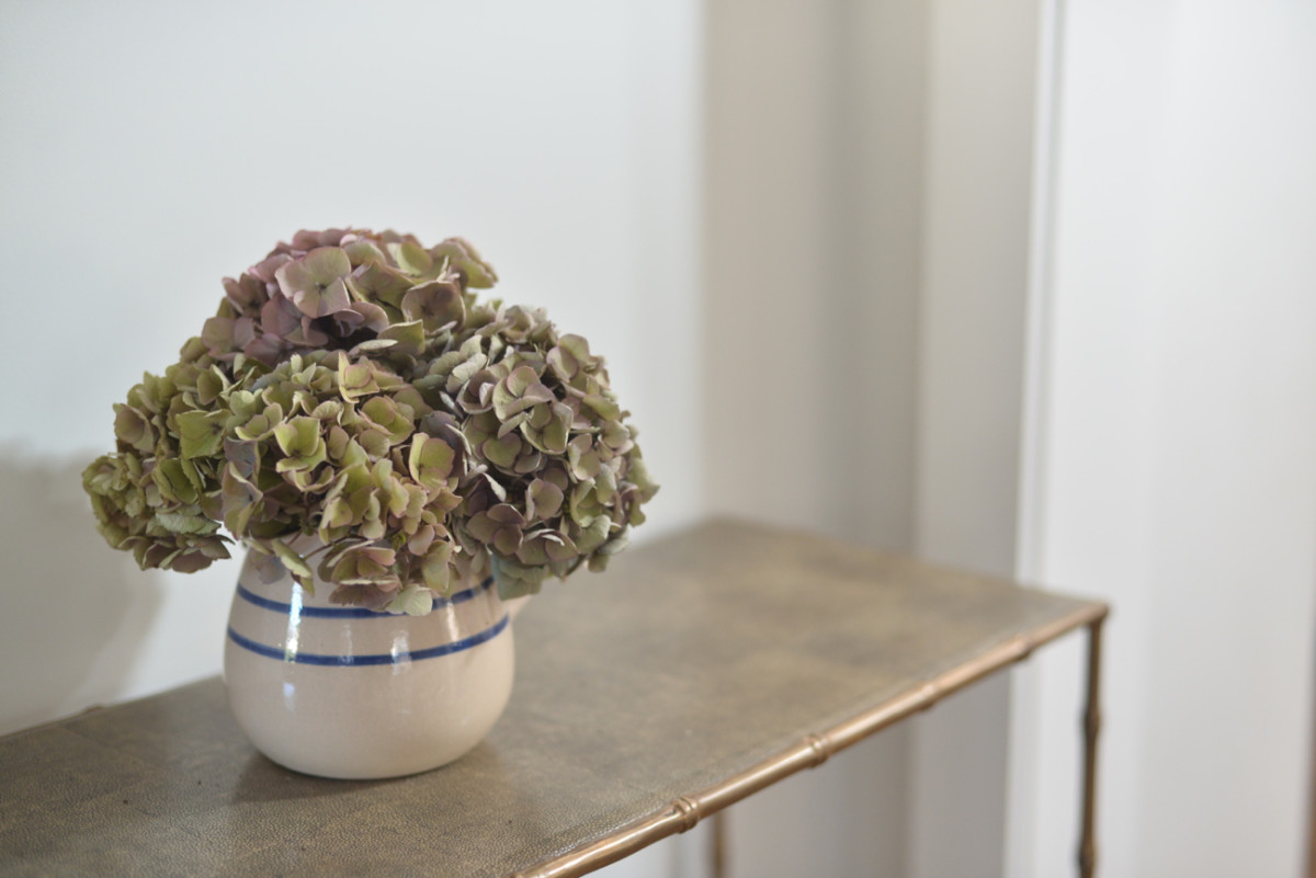{Entryway hydrangeas in one of my favorite vases}