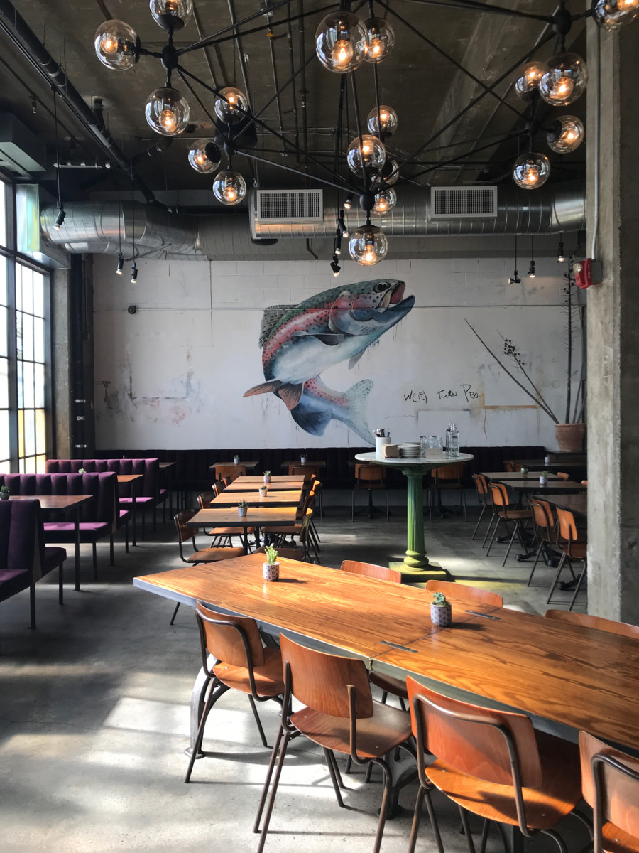 {Impressive fish mural in a newly opened L.A. restaurant}