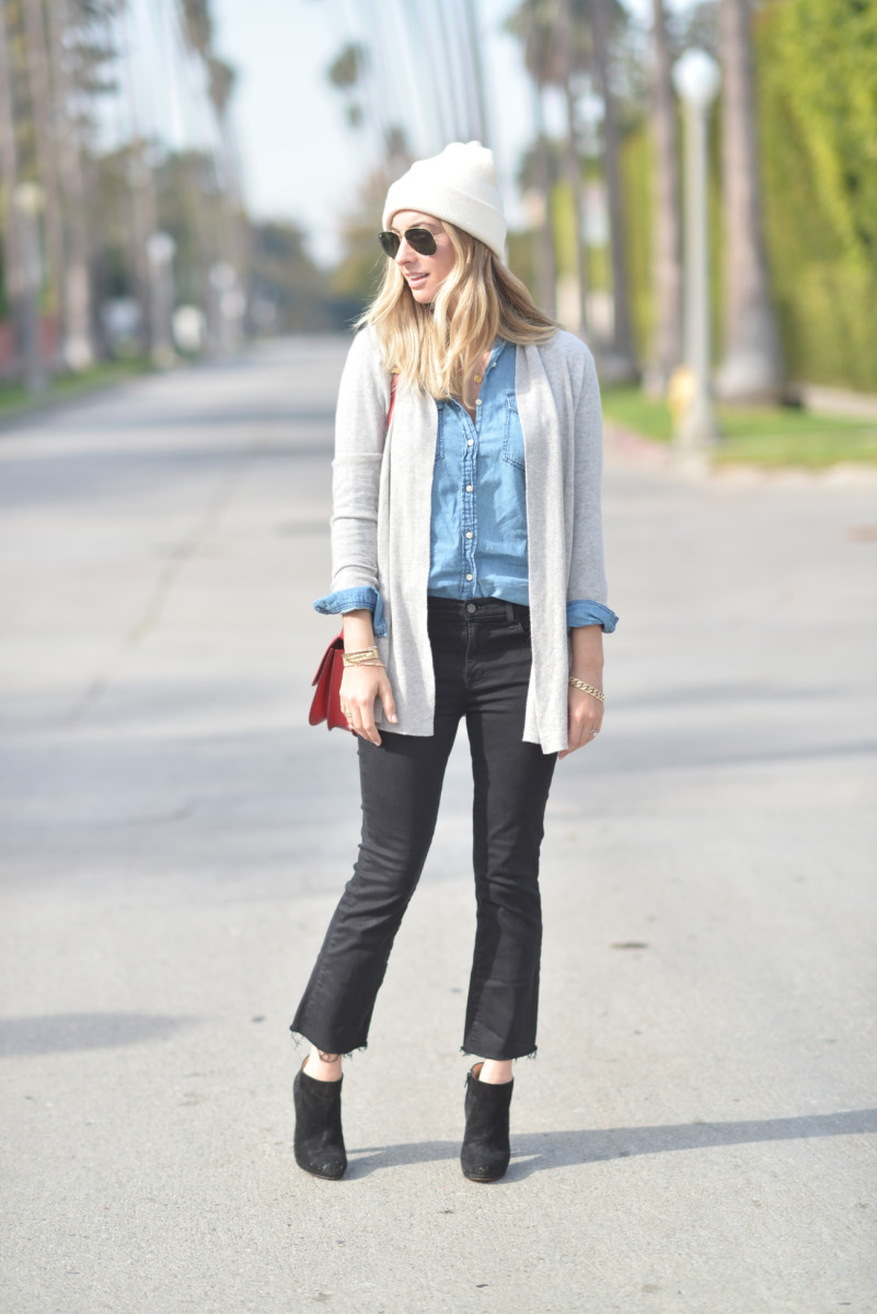 White + Warren Beanie, RayBan Aviators, Cupcakes and Cashmere Sweater and Chambray, MOTHER Denim, Celine Purse (similar here), Booties (similar here, affordable option here).