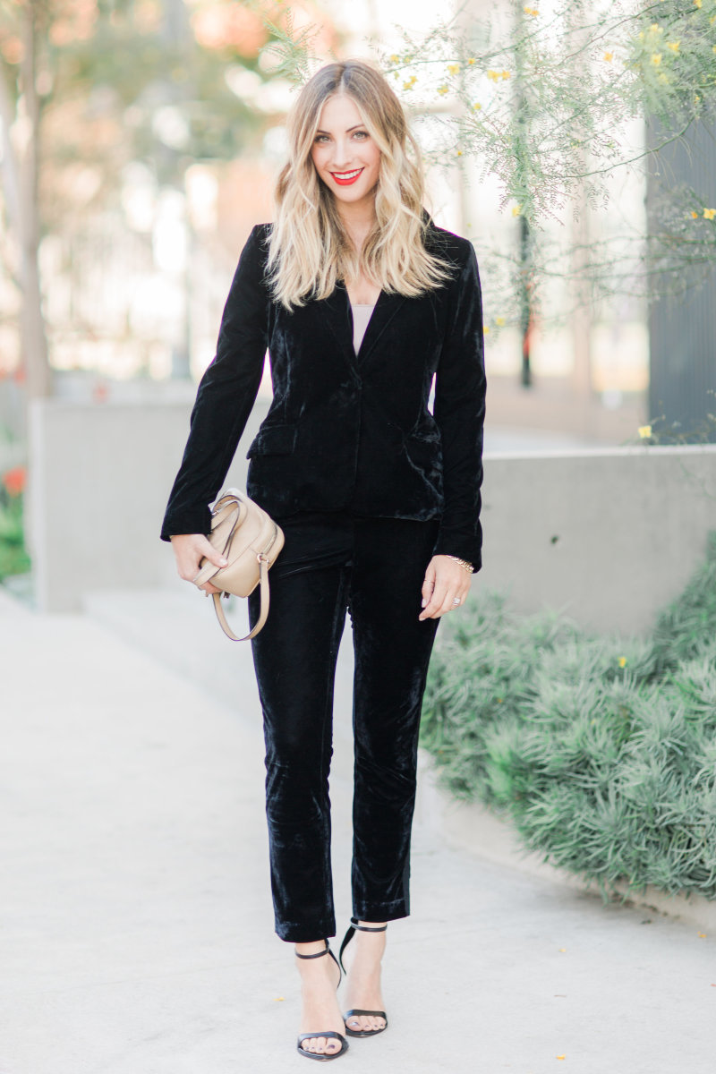 "Cupcakes and Cashmere Blazer and Pants, Gucci Purse (similar here), Zara Heels (similar here), Estée Lauderin ""Restless"" (no longer available, similar here)"