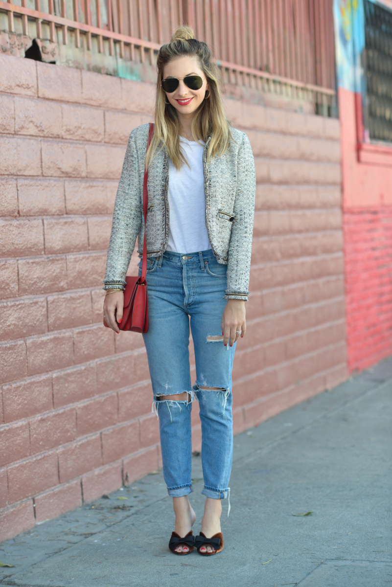 Ray Ban Sunglasses, Cupcakes and Cashmere Jacket, Current / Elliot Tank, AGOLDE Jeans, Prada Mules(on sale! and similar hereand here), Celine Bag (similar here), Laura Mercier Lipstick in 'Clique'
