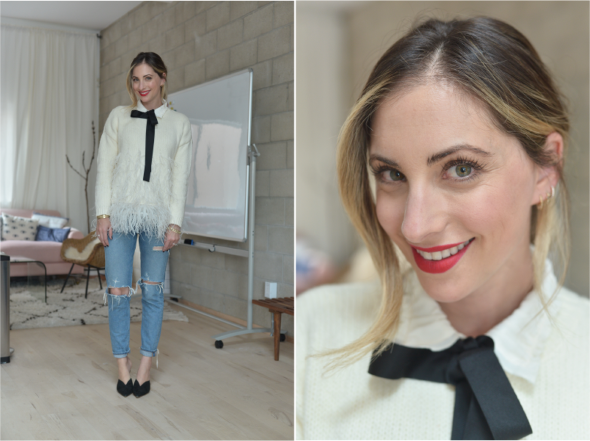Wednesday: Zara Blouse, Elizabeth and James Sweater (similar here in black), Agolde Jeans, Alexandre Birman Mules (similar here), Laura Mercier 'Dominate' Lipstick