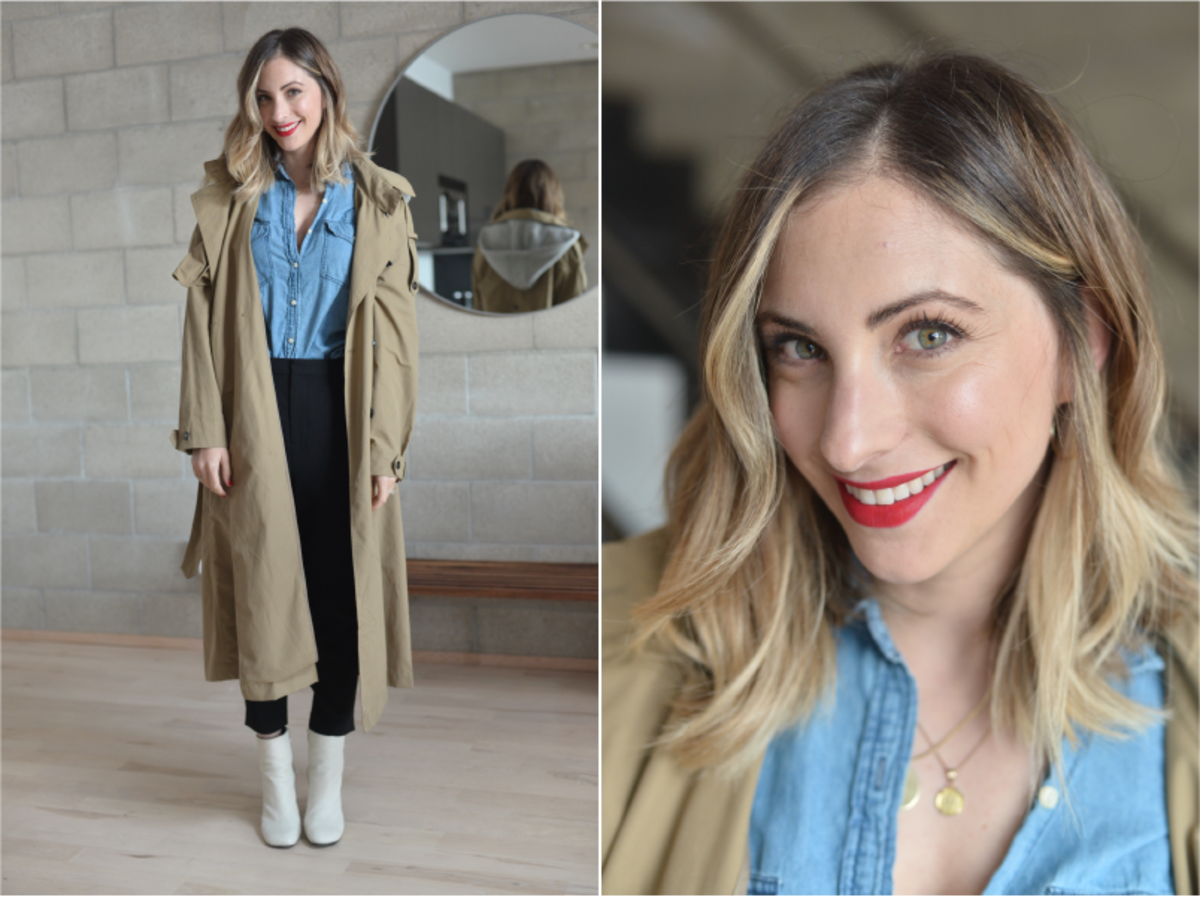 Tuesday: Zara Trench (similar here), Cupcakes and Cashmere Chambray, Nili Lotan Pants (similar here), Rag & Bone Booties (similar here), Laura Mercier 'Dominate' Lipstick