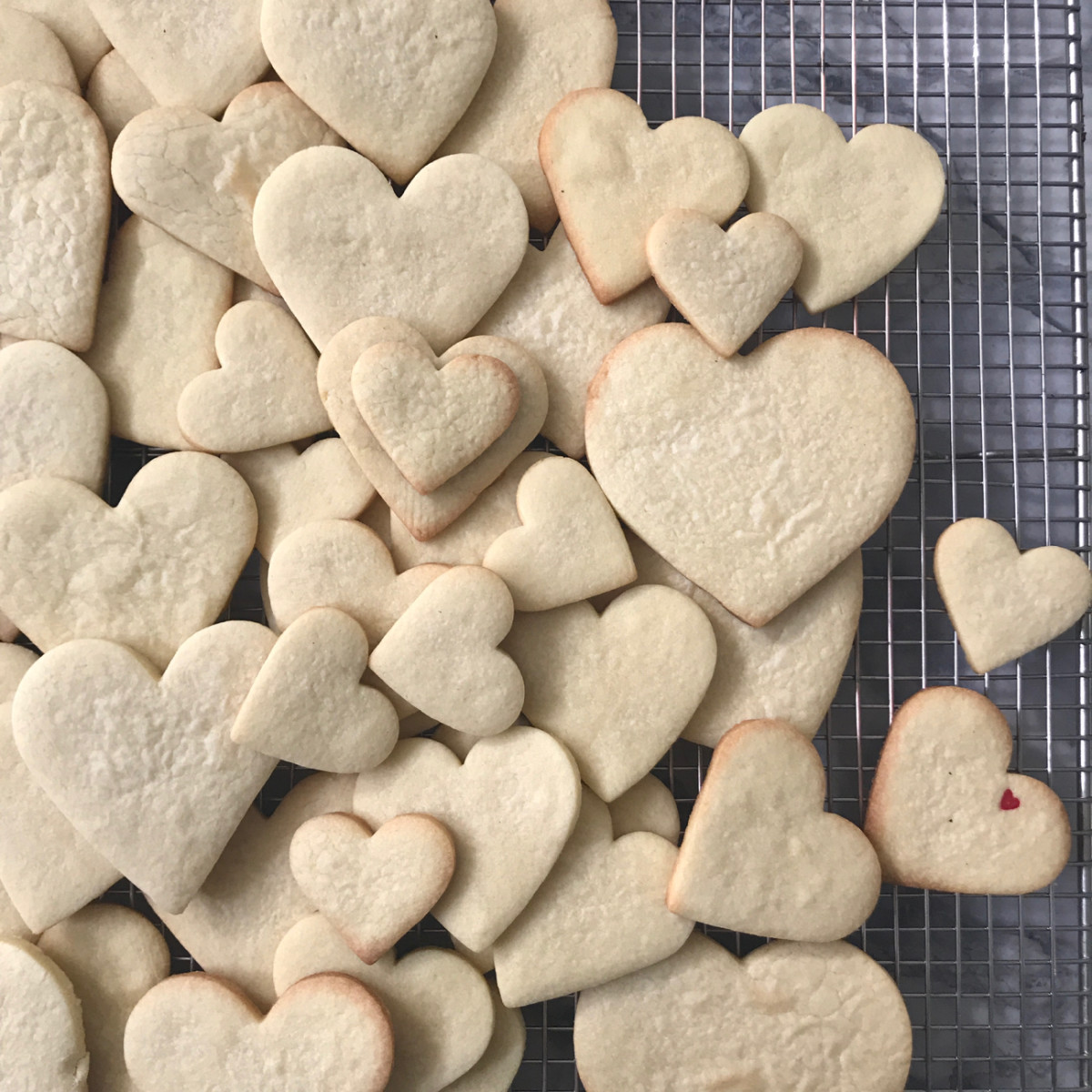 {Valentine's Day cookies ready to be decorated}