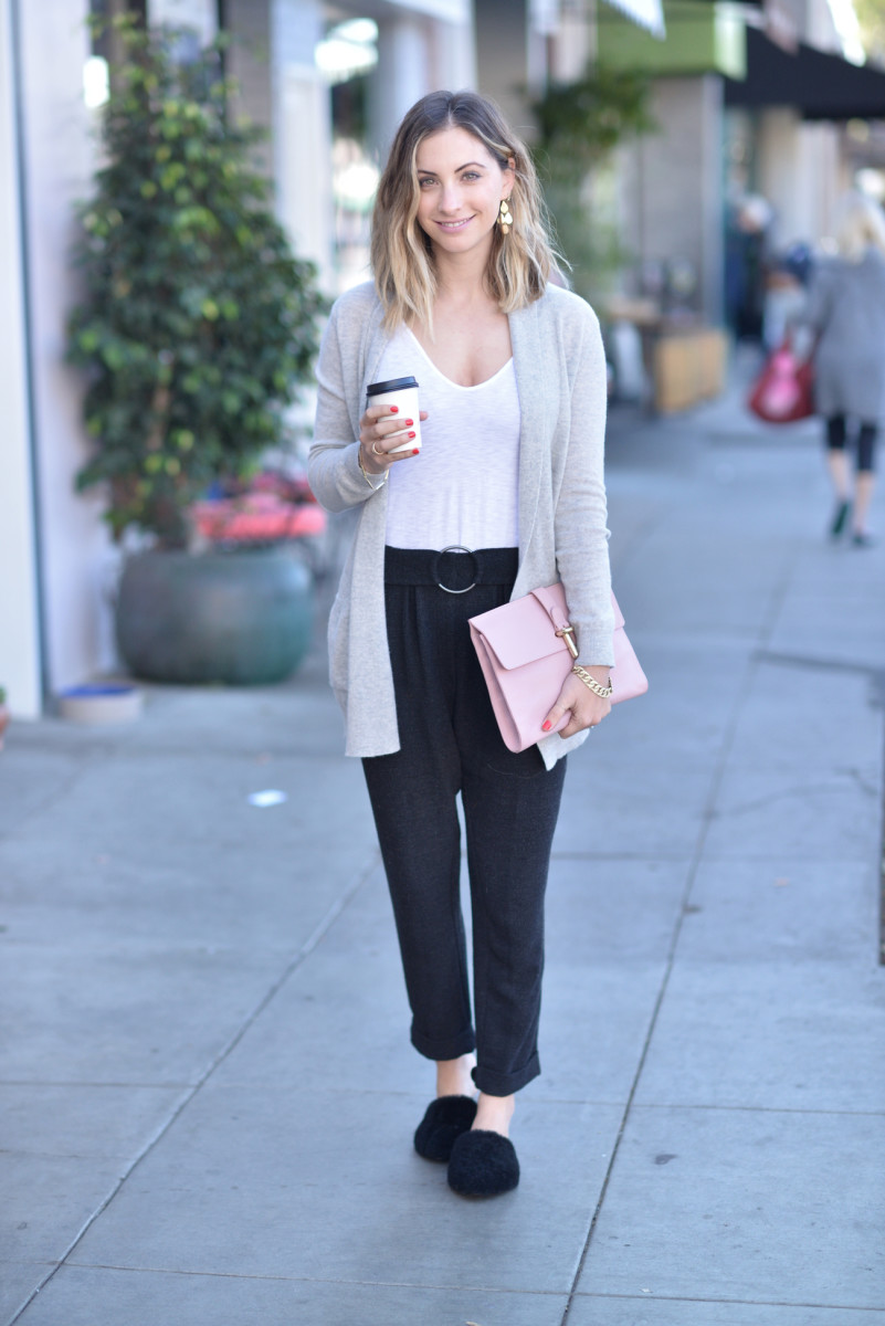 Cupcakes and Cashmere Cardigan, Stateside Tank, Zara Pants (similar here and here), Jenni Kayne Mules c/o, Balenciaga Clutch (similar here), Irene Neuwirth Earrings