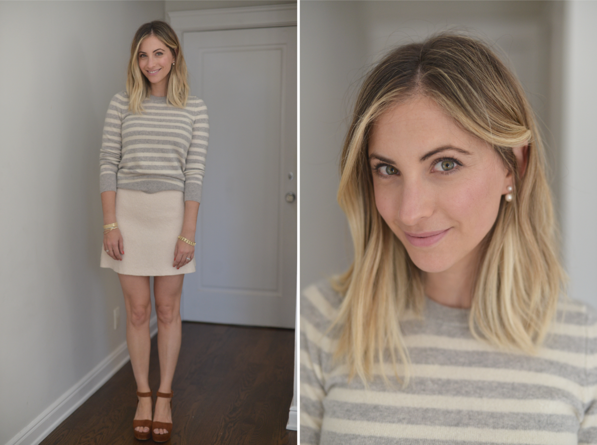 Monday: White + Warren Sweater (similar here), Zara Skirt (similar here), Miu Miu Heels (similar here), Tai Earrings