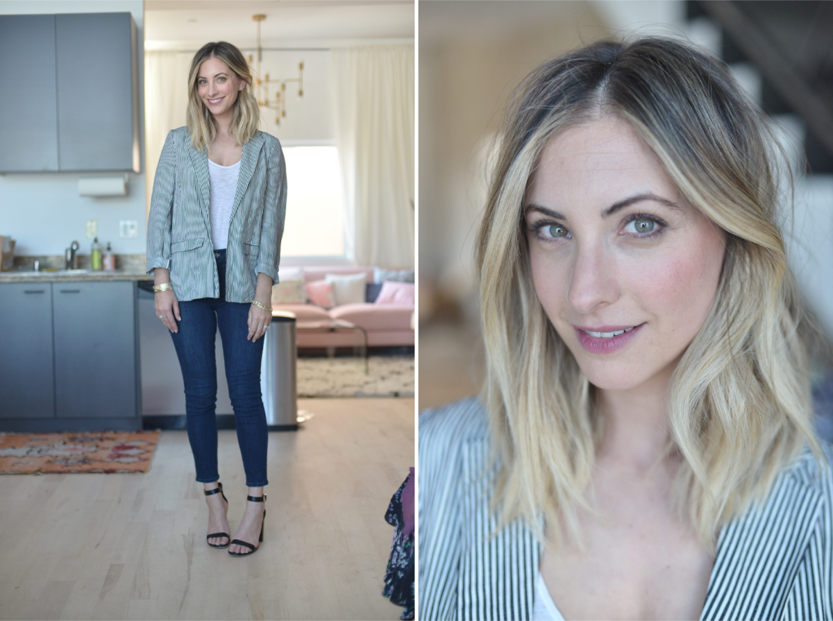 Friday: Cupcakes and Cashmere Blazer, Stateside Tank Top, Agolde Jeans, Topshop Sandals (similar here)