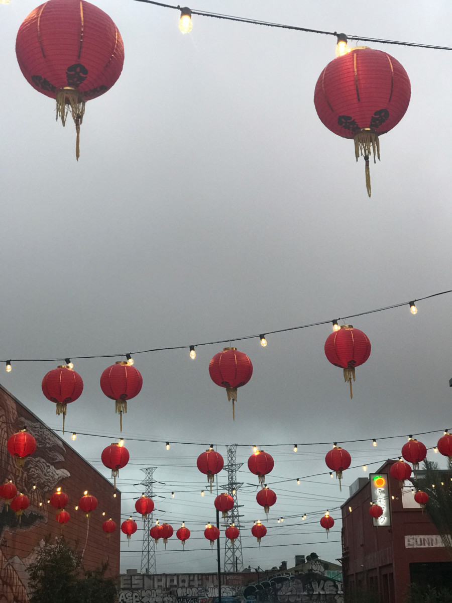 {Lanterns lighting up an ominous sky outside of Majordomo}