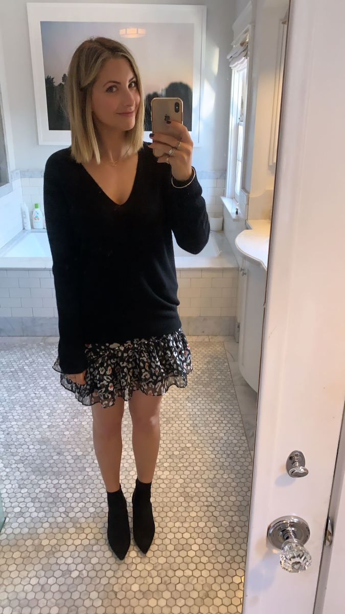 Monday: Theory Sweater, The East Order Skirt, Zara Booties (similar here)