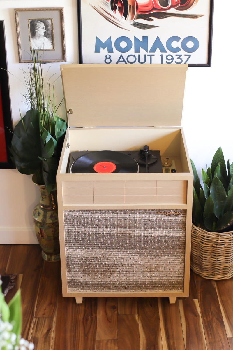 My Los Angeles investment piece: a vintage record player and radio.
