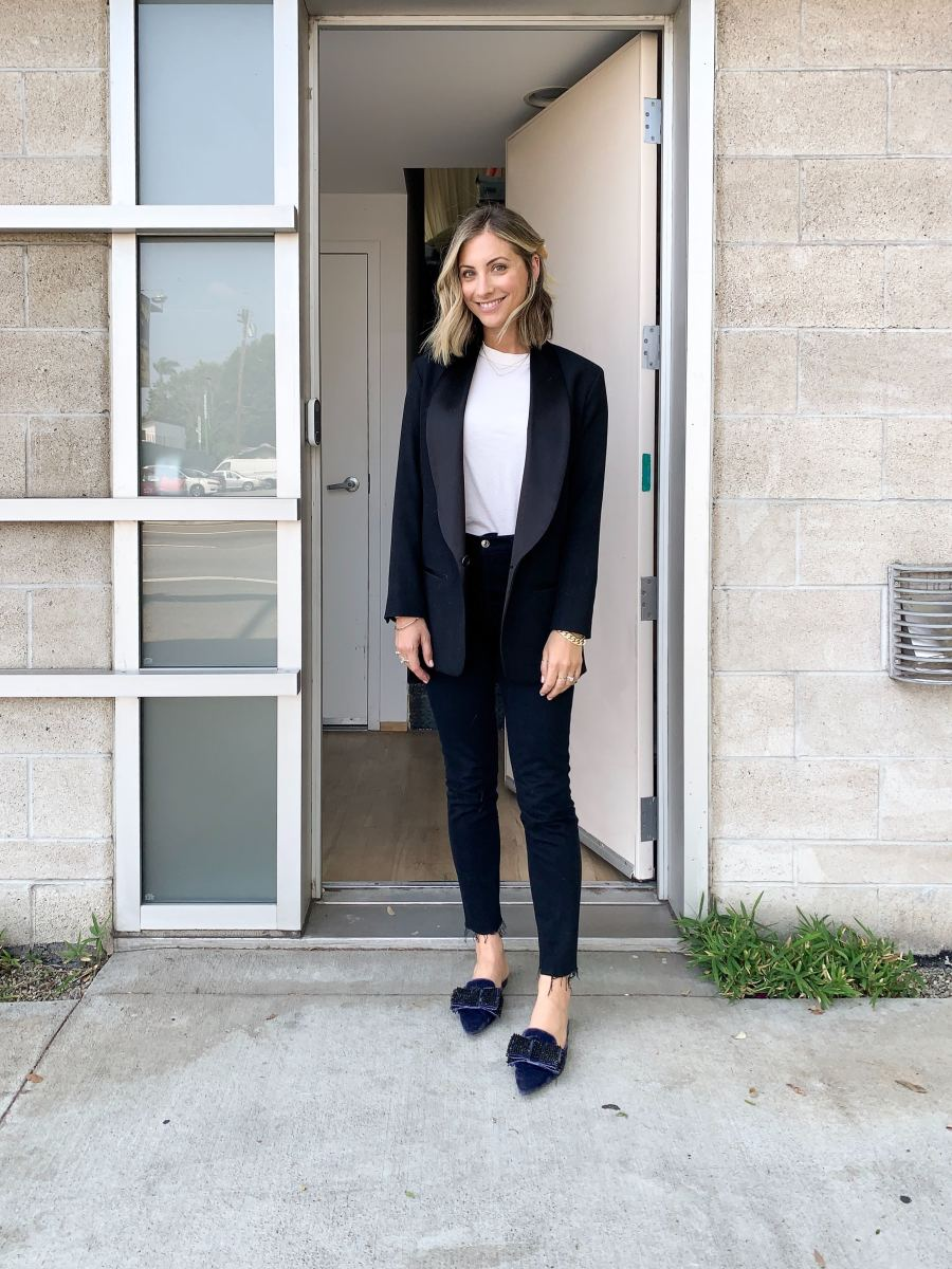 Monday: Isabel Marant Blazer (similar here), The GREAT. Tee, AGOLDE Jeans, Alberta Ferretti Slides